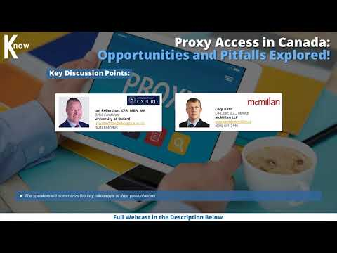Proxy Access In Canada CLE: Opportunities