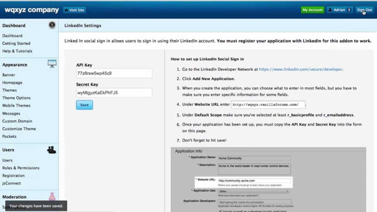 LinkedIn Social Sign-in With Vanilla Forums