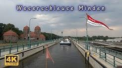 Schachtschleuse und die neue Weserschleuse Minden vom Mittellandkanal zur Weser