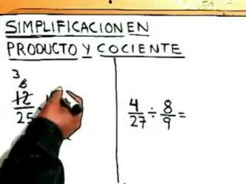 Que es Simplificacion de Fracciones (Aplicado en Multiplicacion y Division) en Matematicas