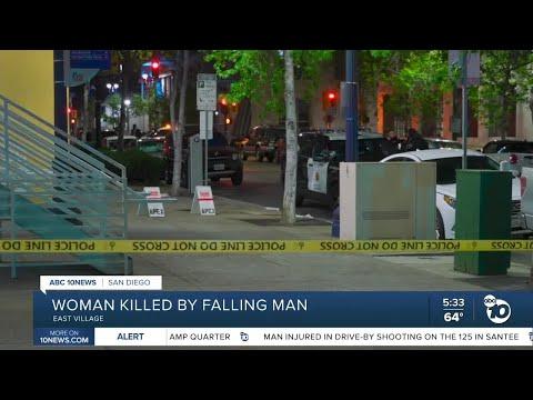 Woman killed by falling man