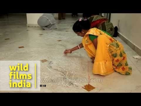 Women take part in rangoli making competition