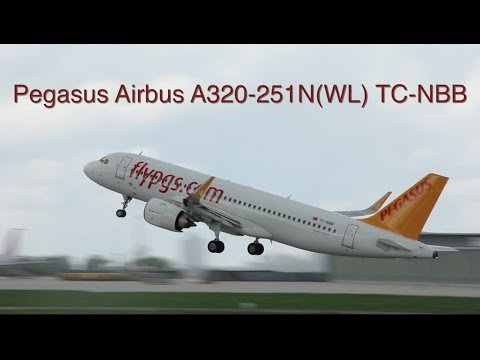 Pegasus Airlines Airbus A320-251NEO - TC-NBB taxi and takeoff at Stuttgart Airport