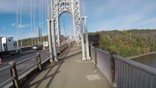Cycling George Washington Bridge North Sidewalk from NYC to Fort Lee, NJ