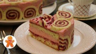 """Торт """"Малиновый"""" нежный ароматный и очень ягодный ✧ Raspberry Cake (English Subtitles)"""