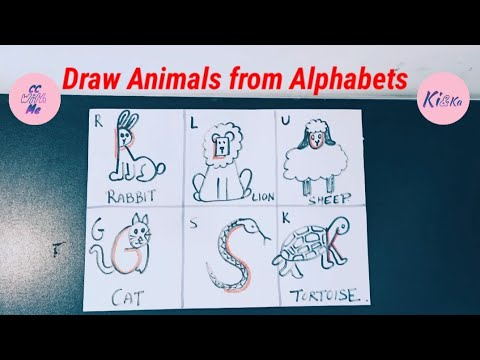 Draw Animals from Alphabets || Easy animal drawing || How to draw animals from alphabets