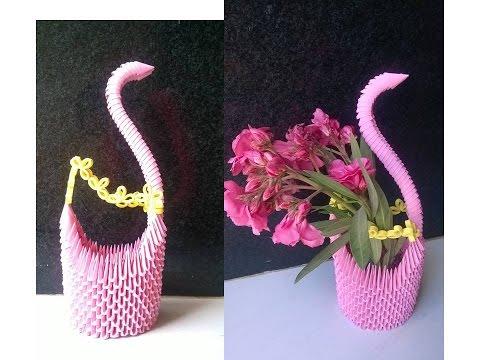 3d Origami Flower Vase 3d Origami Swan Youtube