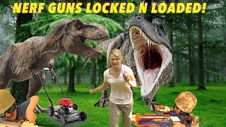 Nerf Gun Battle Aunt Jenny and Nephews vs T Rex Dinosaurs