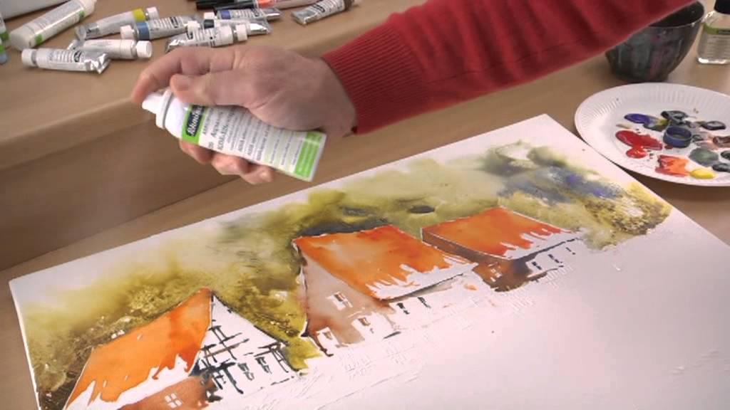 schmincke aquarellmalerei auf leinwand landschaft youtube. Black Bedroom Furniture Sets. Home Design Ideas