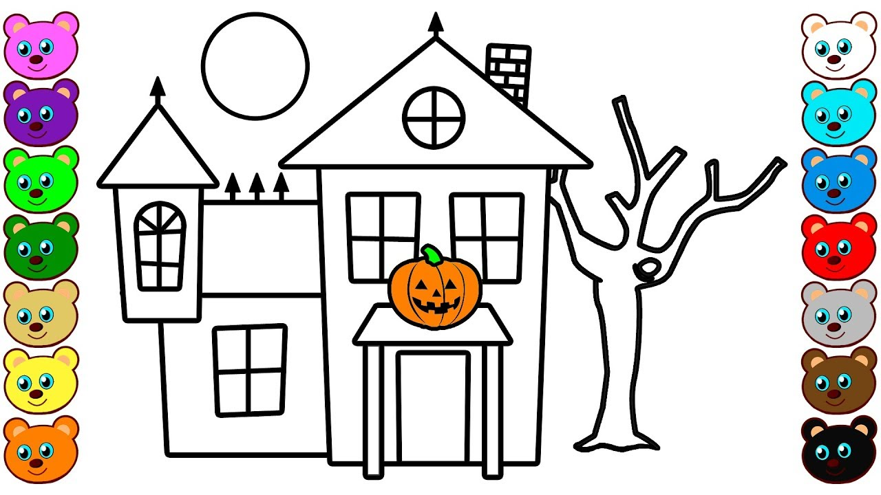 Learn Colors For Kids With Halloween House