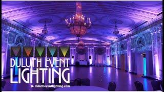 Greysolon Ballroom in lavender wedding lighting by Duluth Event Lighting