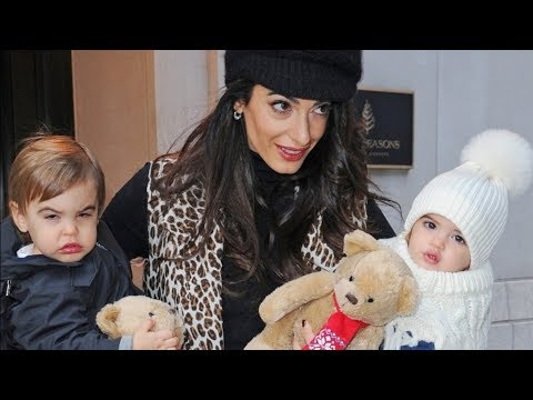 Amal Clooney Carries Her Adorably Dressed Twins Around NYC - YouTube
