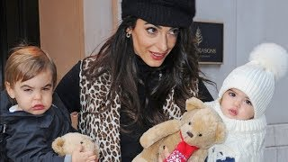 Amal Clooney Carries Her Adorably Dressed Twins Around NYC