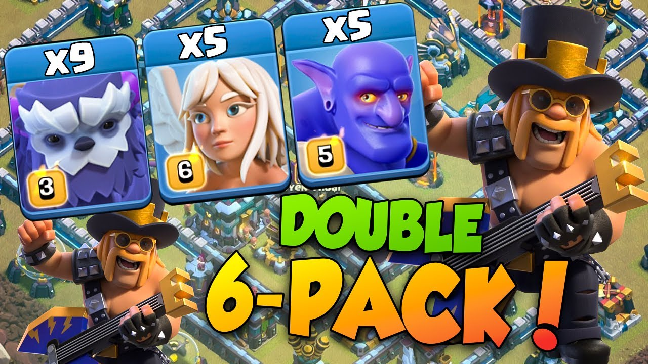 TH13 War 6-PACK Attack | 9 Yeti + 5 Bowler + 5 Healer TH13 Yeti Bowler Strategy |  Clash of Clans