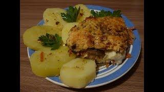 Куриная печень с Грибами запечённая под Сметанным соусом - Как приготовить 30 04 2019