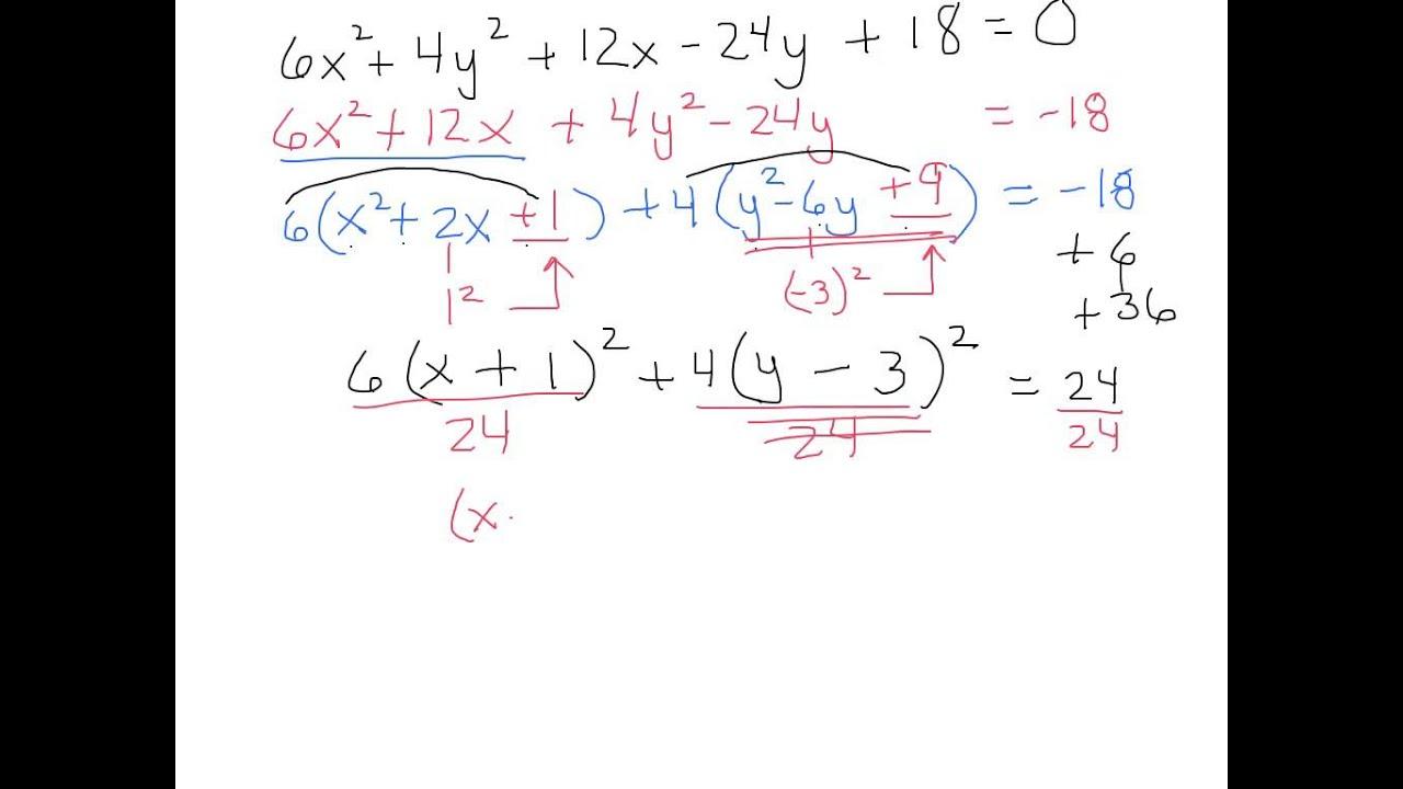 Completing The Square Ellipse Hyperbola