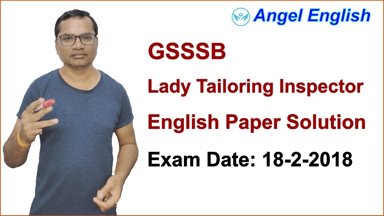 GSSSB Lady Tailoring Inspector English Paper Answer Keys ...