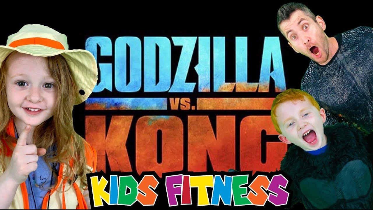 KING KONG VS. GODZILLA! Kids Workout, Fitness, PE! VIDEO GAME! FUN Kids Workout Video, Level Up!