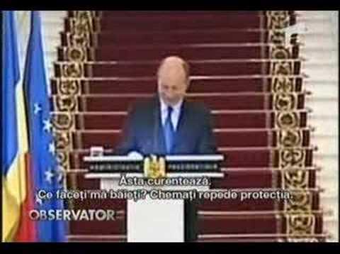 Romanian president Basescu electrocuted