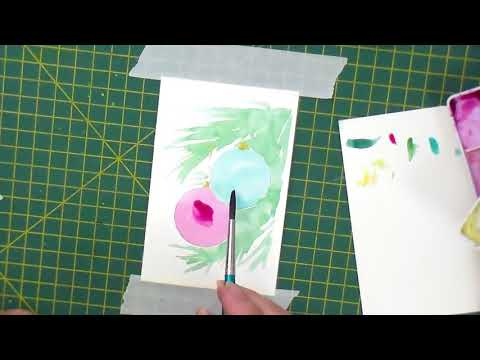 Start watercolour painting your own Christmas cards. ONE lecture from a course.