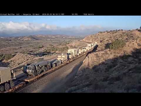 Military Train Rolls Through Cajon Pass