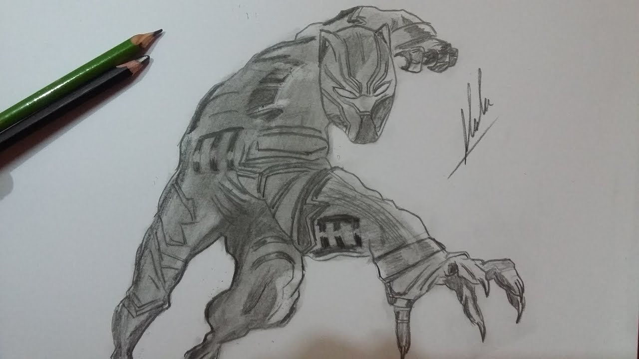 Dibujo De Pantera Negra De Civil War/ Drawing Black