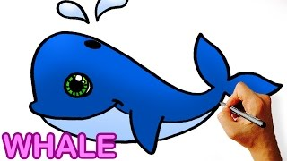 Very Easy! How to Draw Cute Cartoon Whale  Art for Kids