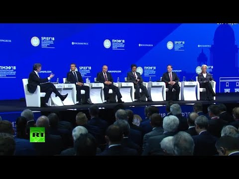 Putin, Macron, Abe & Lagarde take part in SPIEF plenary sess