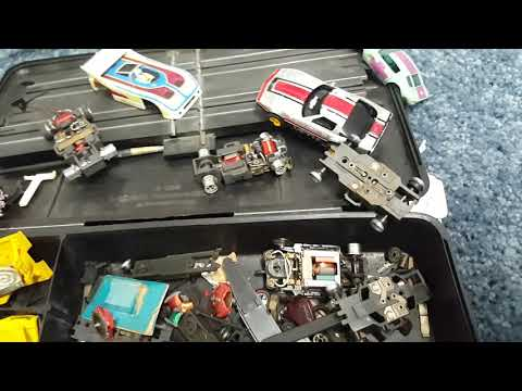 Vintage slot car set, train set combo