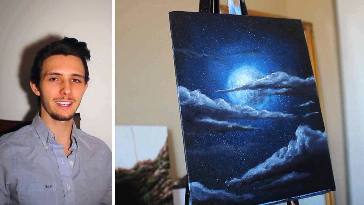 How to paint a Stars, a Moon, and Clouds in a night sky. A ...