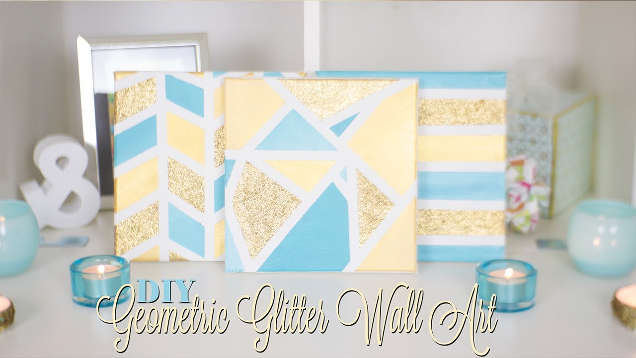 Diy geometric glitter canvas wall art nekkoart youtube for How to make canvas painting