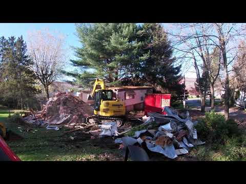Demolishing a Mobile Home Trailer in Duyryea, Pennsylvania