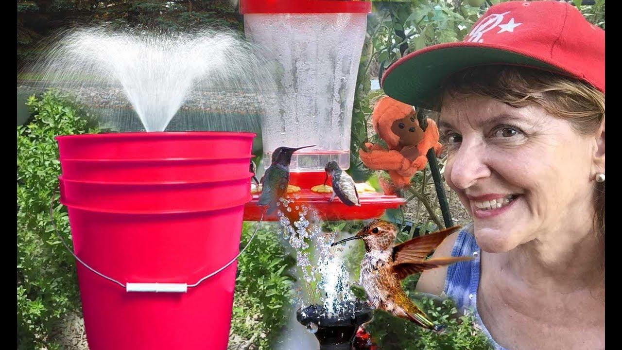 Diy Water Fountain Bucket Solar Pump Garden Bird Bath Pond Bathroom Makeover On A Budget Youtube