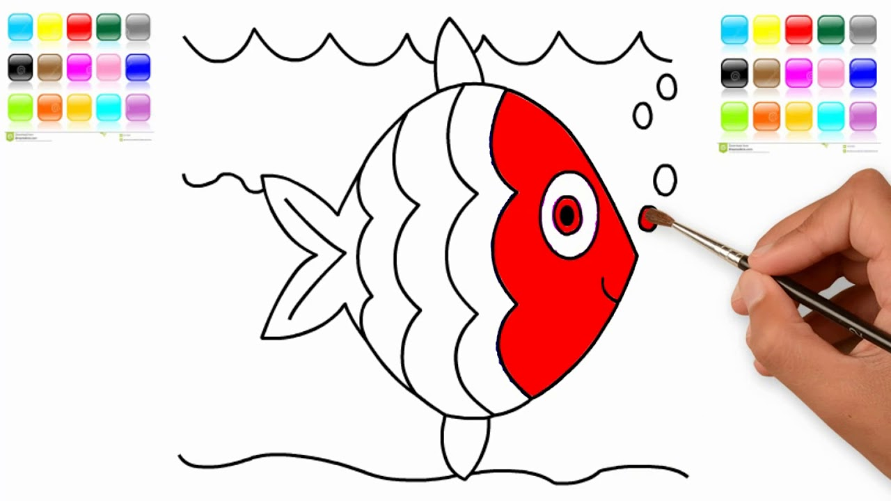 How to Draw Fish - Coloring Sea Fishes for Kids - Fish Coloring Page ...