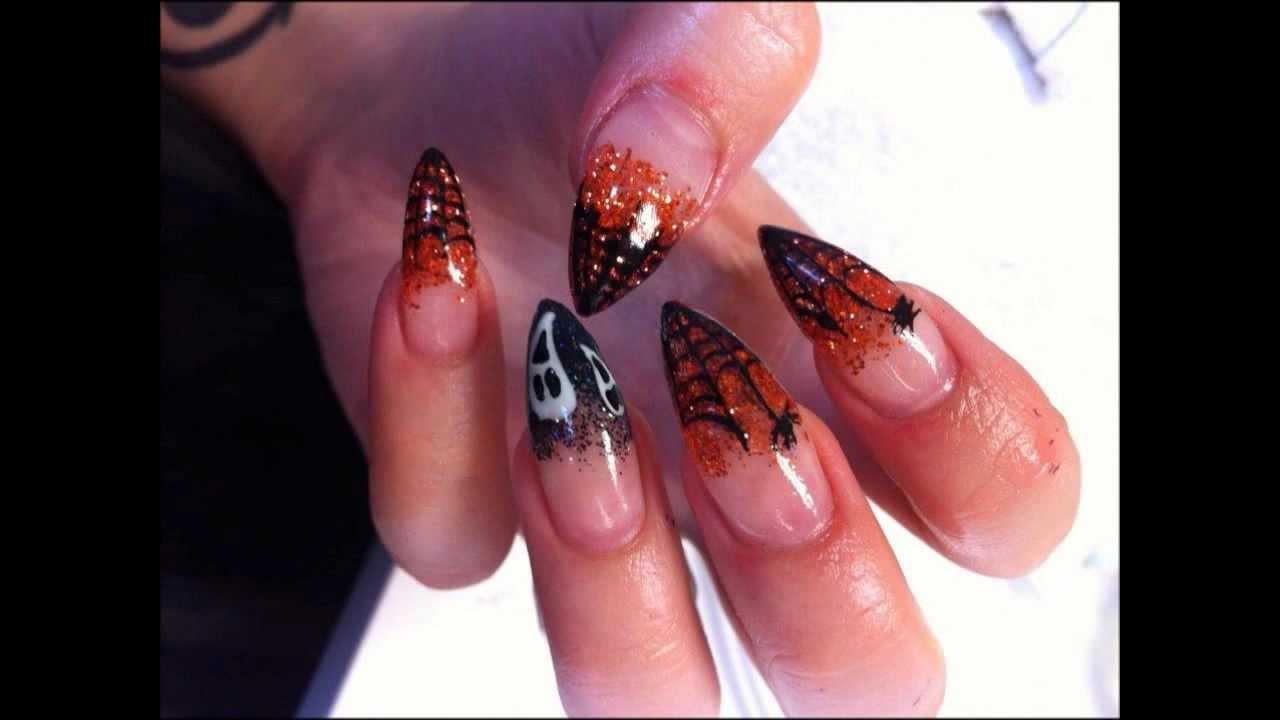 stiletto gel nails halloween tutorial
