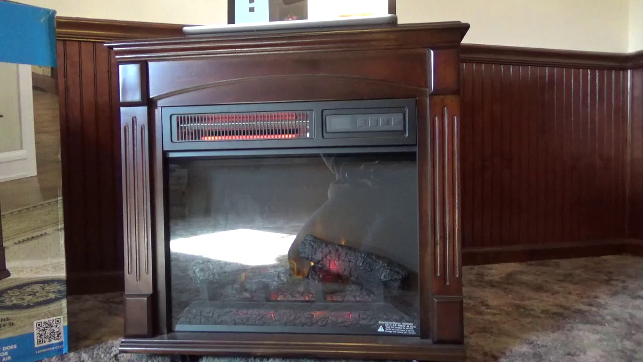chimney free electric fireplace space heater review youtube. Black Bedroom Furniture Sets. Home Design Ideas