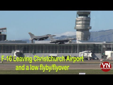 F-16s Leaving Christchurch Airport and doing a low Flyby/Flyover