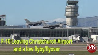 F-16s Leaving Christchurch Airport and doing a low Flyby/Flyov…