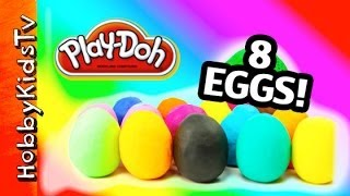 8 PLAY DOH Surprise Toy Eggs! Angry Birds King Pig, Slinky Dog Star Wars R2D2 by HobbyKidsTV
