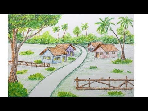 how to draw easy village scenery for kids