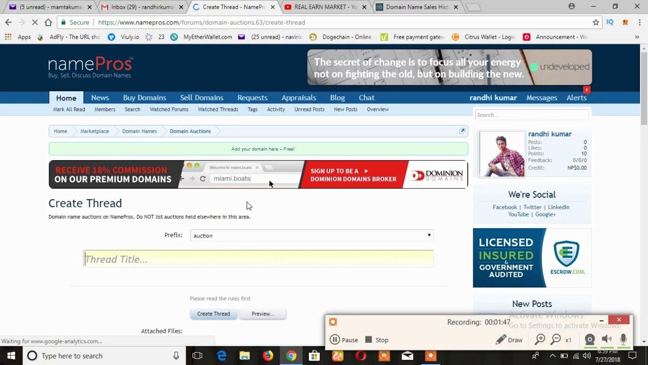#domain broker site namepros PE domain sell Kase Kare