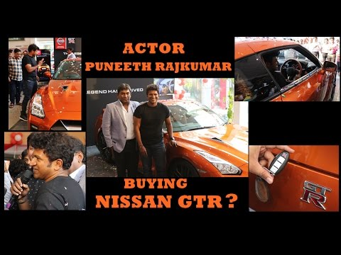 Actor Puneeth Rajkumar with the Nissan GTR in BANGALORE
