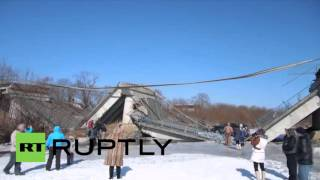 Russia: Lucky escape for commuters as bridge collapses in Prim…