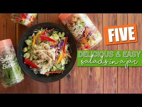 Food & Meal Prep Ideas // 5 Salad In a Jar Meals