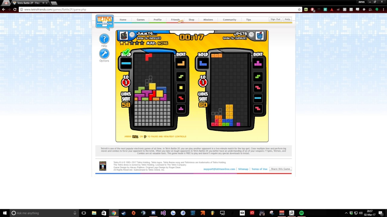 Rank 16 Tetris Friends 2P Battle