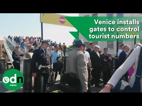Venice installs gates to control tourist numbers