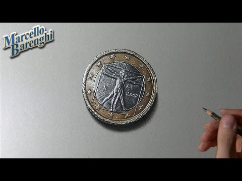 Drawing 3D 1 euro coin