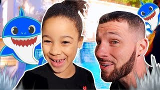 Magic Pool Turns Daddy into Shark | FamousTubeKIDS