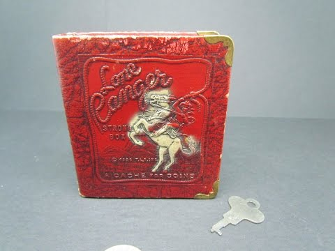 The Lone Ranger Promotional 1938 Strong Box Sun Life Insurance Company of America Coin Bank with Key