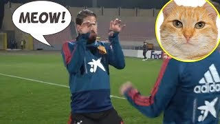 Watch: Sergio Ramos funny goal celebration in training!